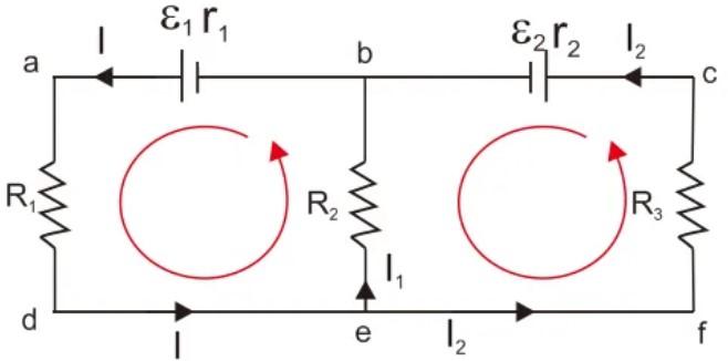 Contoh gambar Rangkaian dengan Dua Loop atau Lebih