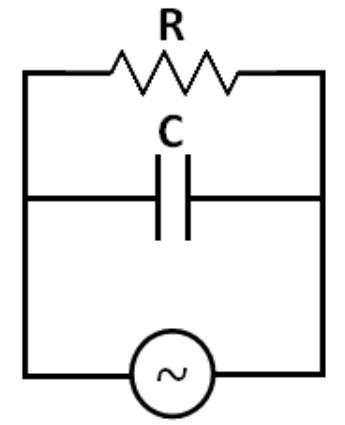 Gambar rangkaian paralel reistor dengan kapasitor pada arus bolak-balik