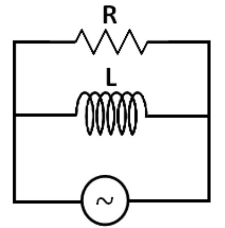 Gambar rangkaian resistor dirangkai paralel dengan induktor pada arus bolak-balik