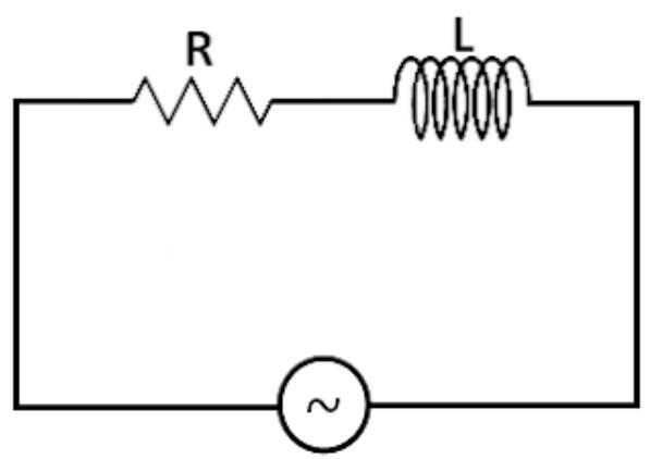 Gambar rangkaian resistor dirangkai seri dengan induktor pada arus bolak-balik