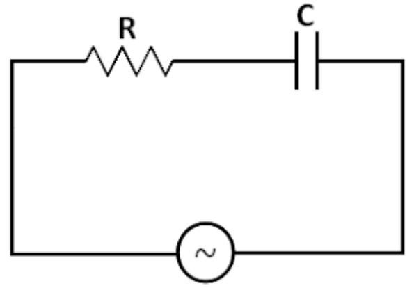 Gambar rangkaian seri resistor dengan kapasitor pada arus bolak-balik