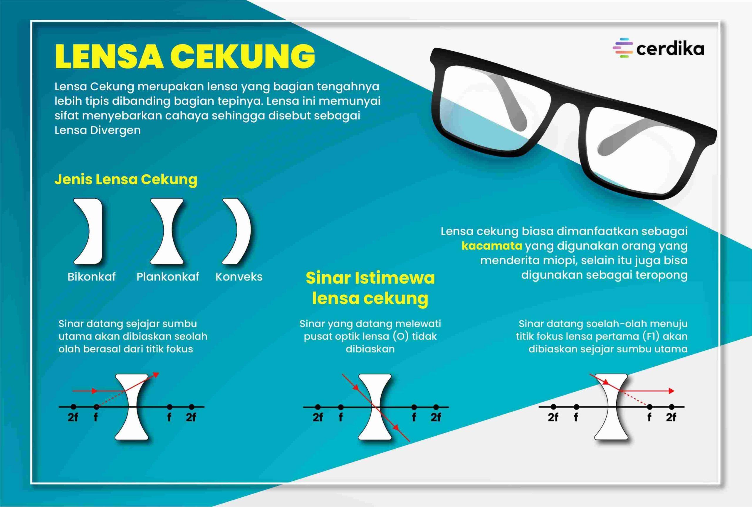 infografis lensa cekung
