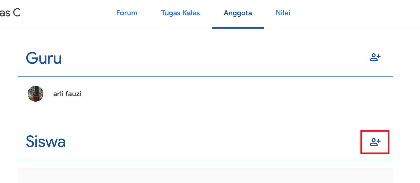 klik ikon plus untuk tambah anggota