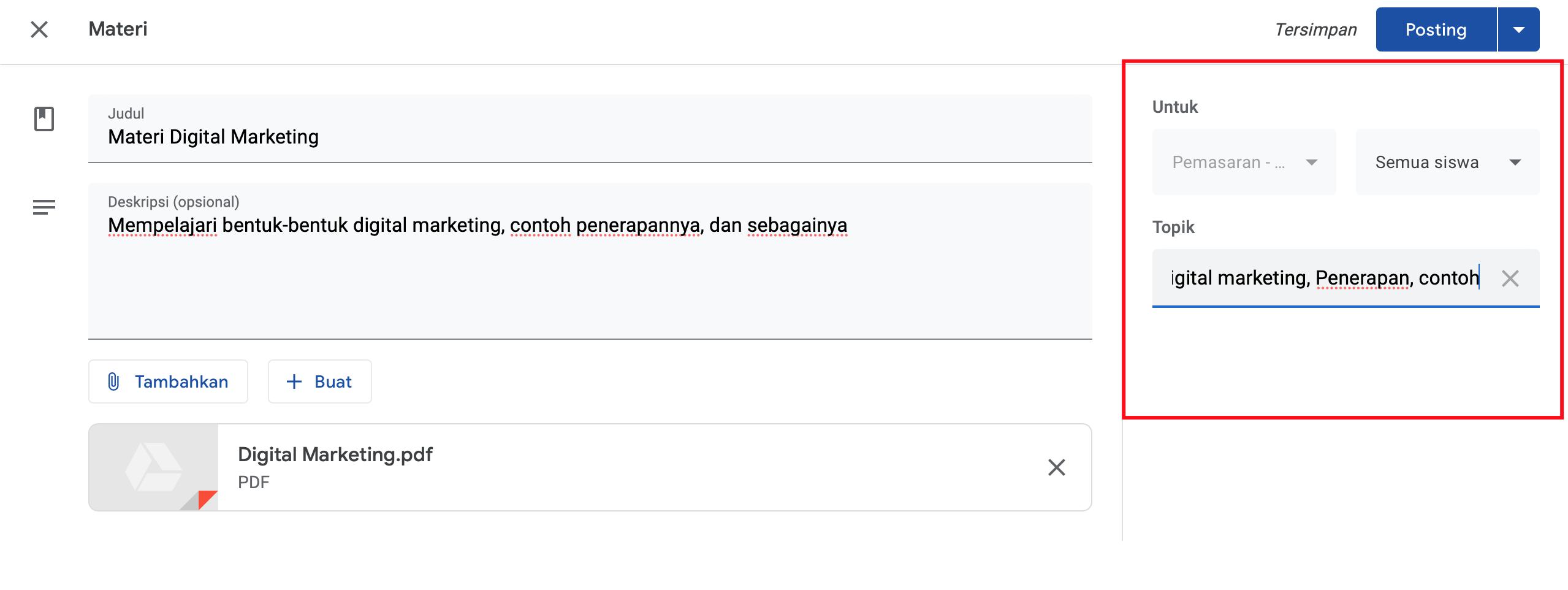 setting materi google classroom pada tab kanan layar