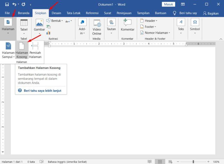 Cara ke-1 Menambah Halaman di Word Melalui Menu Insert - Blank Page