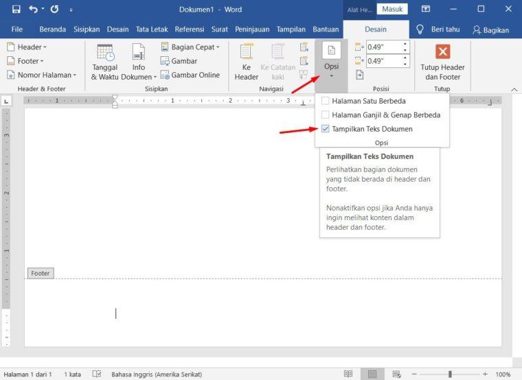 Cara ke-2 Mengatur Format Nomor Halaman Berbeda pada Satu Dokumen