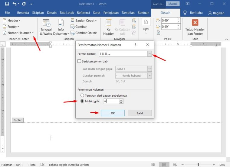 Cara ke-3 Mengatur Format Nomor Halaman Berbeda pada Satu Dokumen