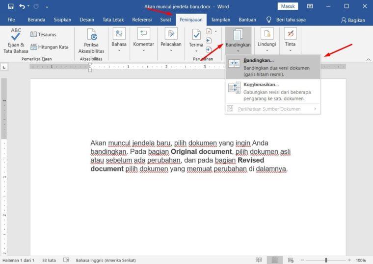 Cara ke-1 Compare Document pada Word