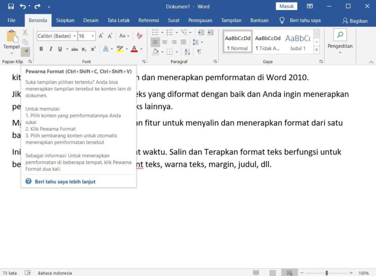 Cara ke-1 Copy and Apply Text Formatting