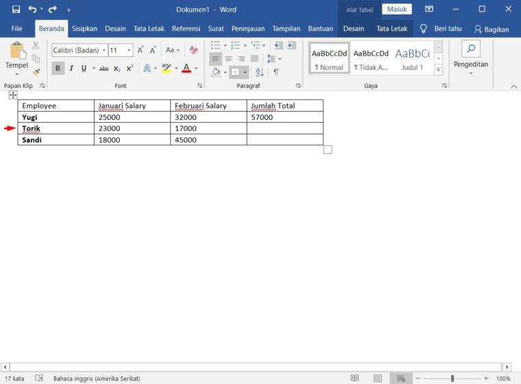 Cara ke-1 Membagi Tabel di Word