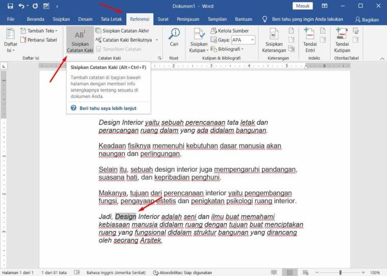 Cara ke-1 Membuat Footnote di Word