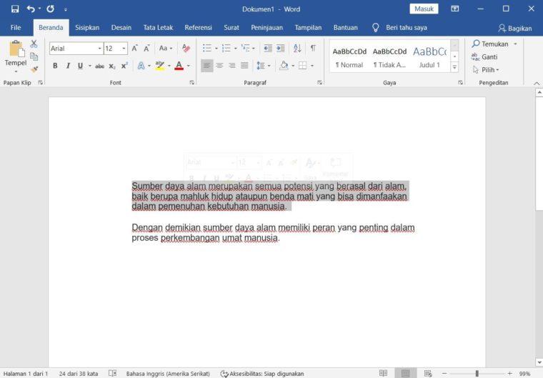 Cara ke-1 Membuat Garis Bawahi Teks