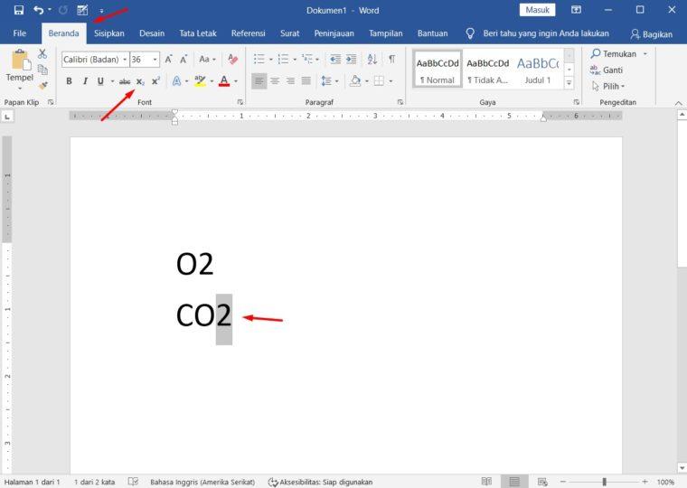Cara ke-1 Membuat Pangkat Bawah di Word