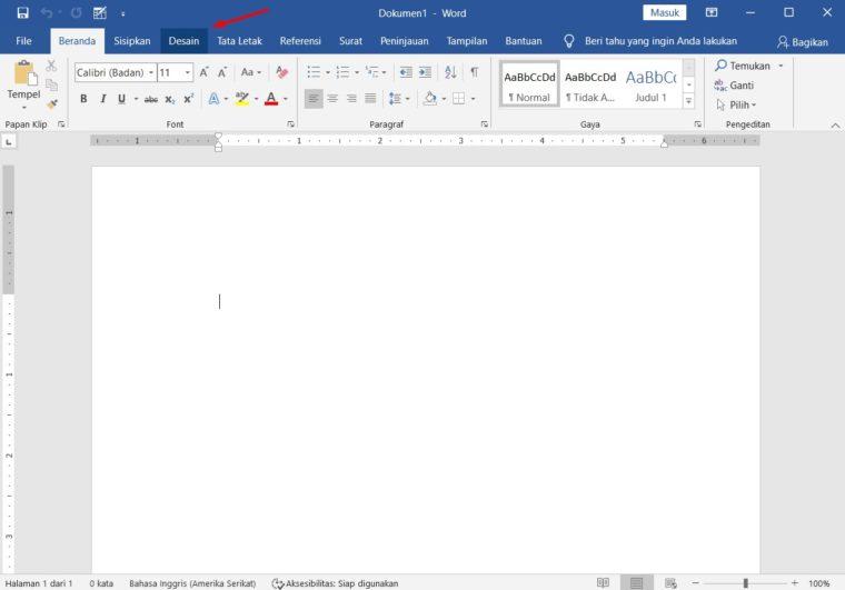 Cara ke-1 Membuat Watermark Text di Word