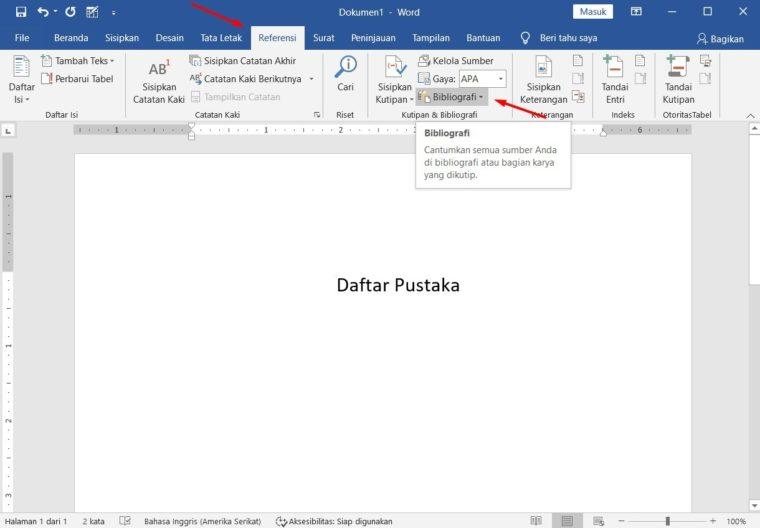 Cara ke-1 Menampilkan List Referensi Daftar Pustaka