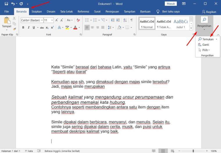Cara ke-1 Menemukan dan Mengganti Teks Dengan Tab Menu Home