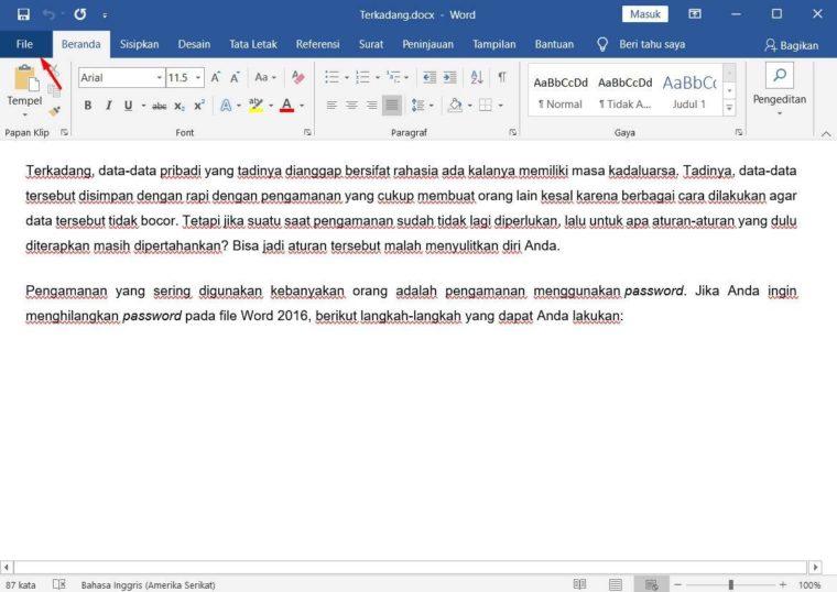 Cara ke-1 Mengatur Agar Dokumen Tidak Bisa di Edit