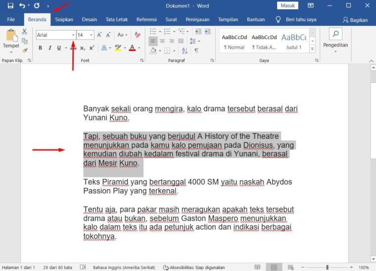 Cara ke-1 Mengatur Jenis Font