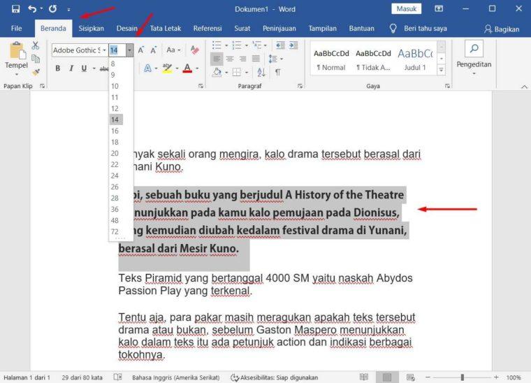 Cara ke-1 Mengatur Ukuran Font