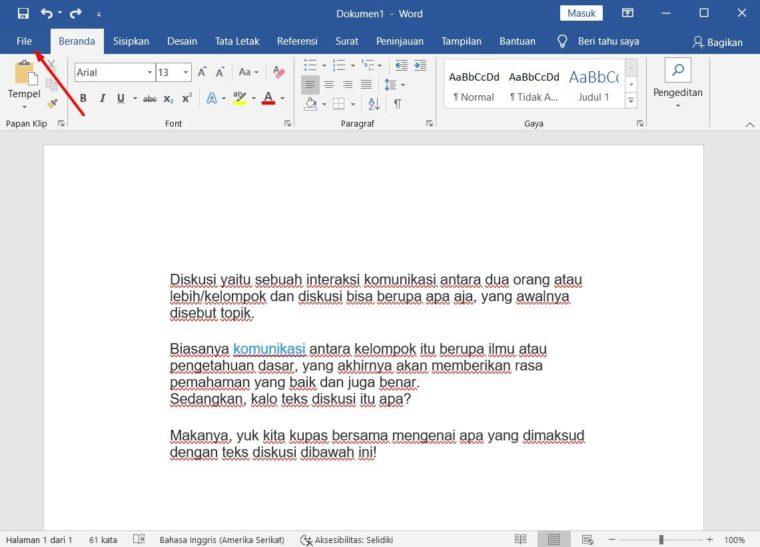 Cara ke-1 Menggunakan Bantuan dengan File Tab