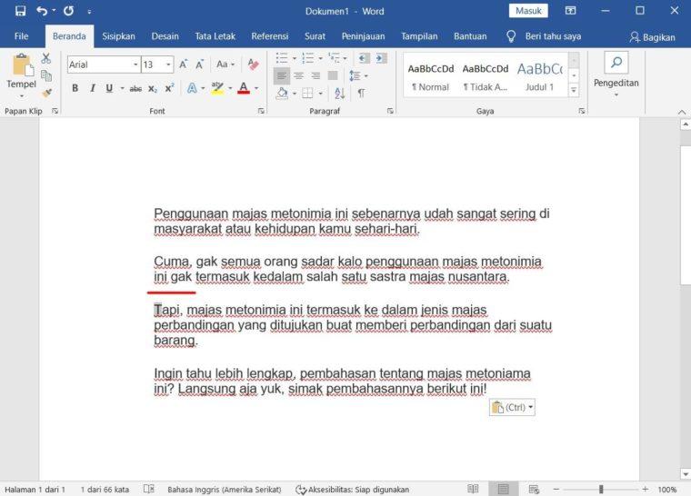 Cara ke-1 Menggunakan Page Break