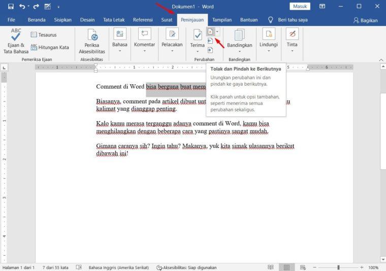 Cara ke-1 Menghilangkan Comments Word dengan Fitur Delete