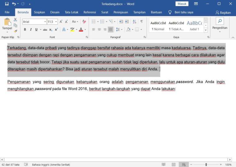 Cara ke-1 Mengunci Dokumen Agar Tidak Bisa Dicopy pada Tulisan Tertentu