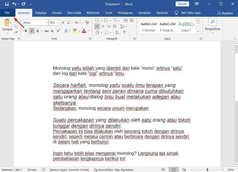 Cara ke-1 Menutup Dokumen di Word