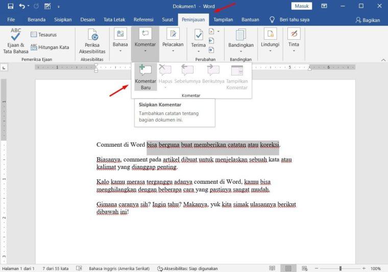 Cara ke-1 Menyisipkan Comments di Word