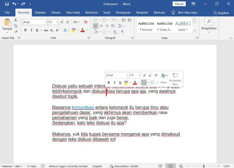 Cara ke-1 Menyisipkan Teks pada Microsoft Word