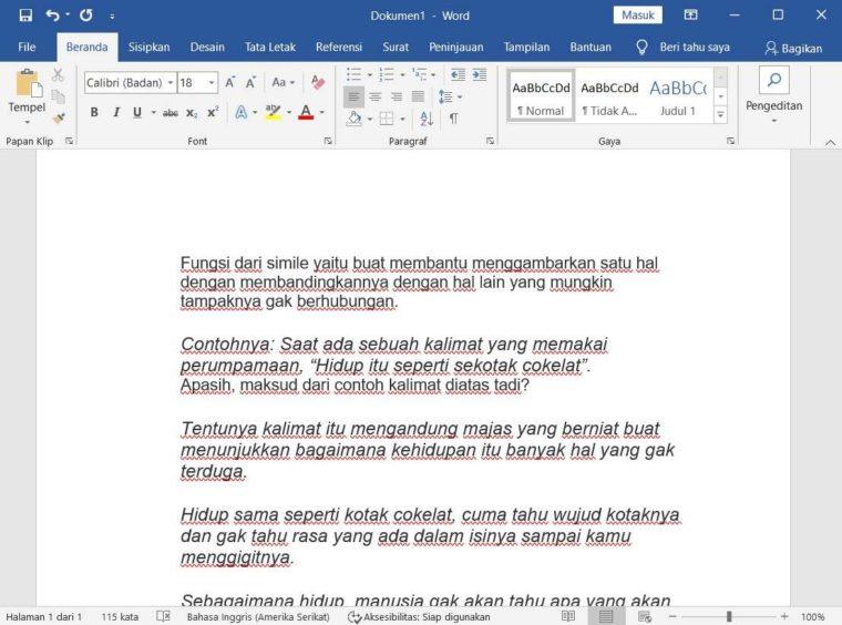 Cara ke-1 Pertinjau Dokumen di Word