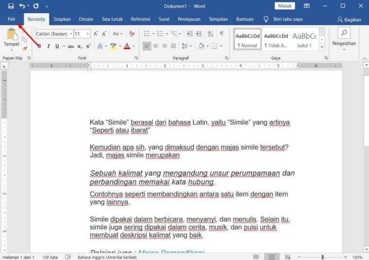 Cara ke-1 Print Dokumen di Microsoft Word