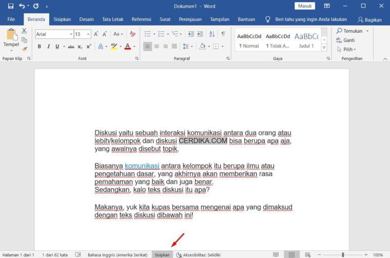 Cara ke-2 Add Text pada Microsoft Word