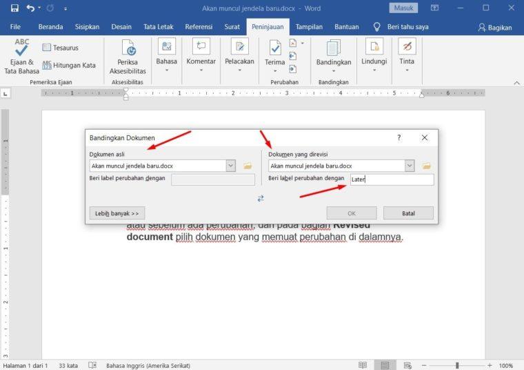 Cara ke-2 Compare Document pada Word