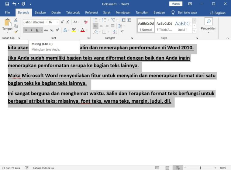 Cara ke-2 Copy and Apply Text Formatting Multiple Times