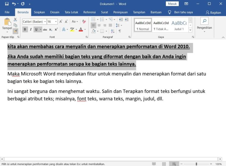 Cara ke-2 Copy and Apply Text Formatting