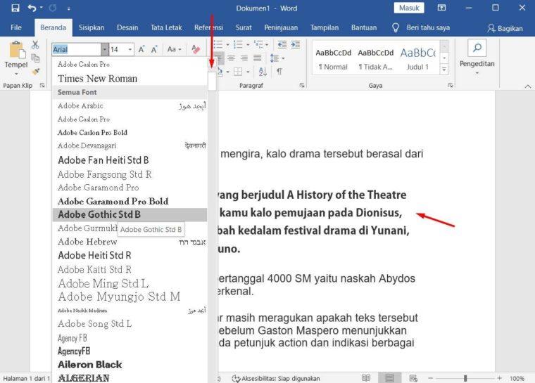 Cara ke-2 Mengatur Jenis Font