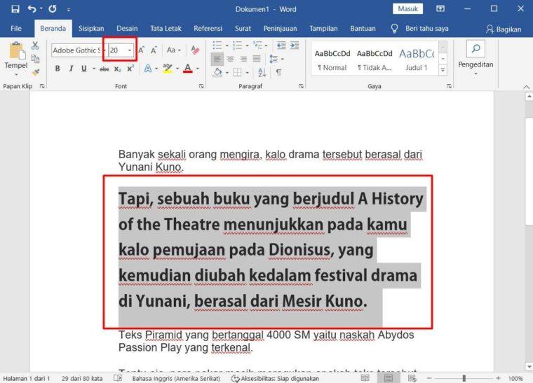 Cara ke-2 Mengatur Ukuran Font