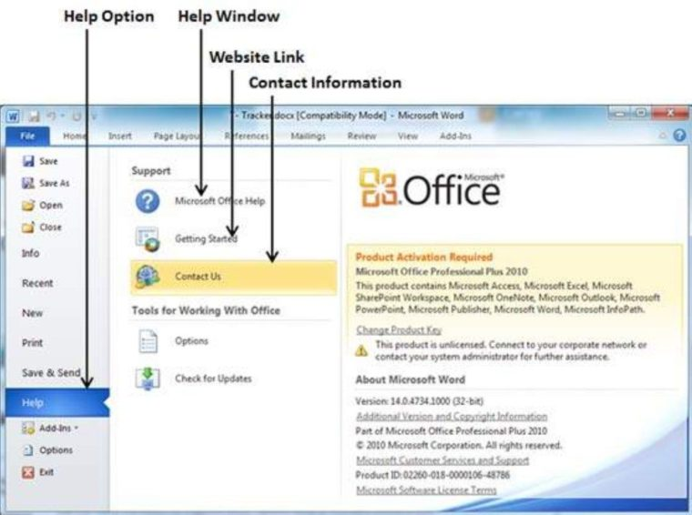 Cara ke-2 Menggunakan Bantuan dengan File Tab