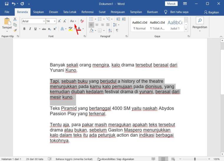 Cara ke-2 Menghapus Format pada Font