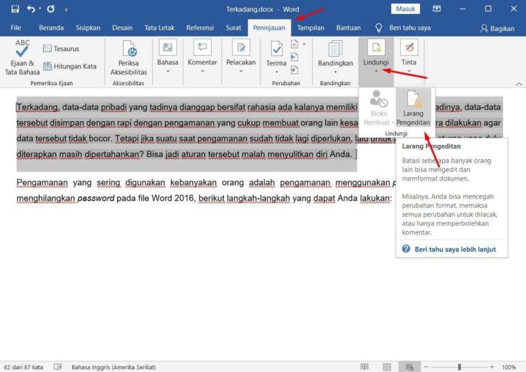 Cara ke-2 Mengunci Dokumen Agar Tidak Bisa Dicopy pada Tulisan Tertentu