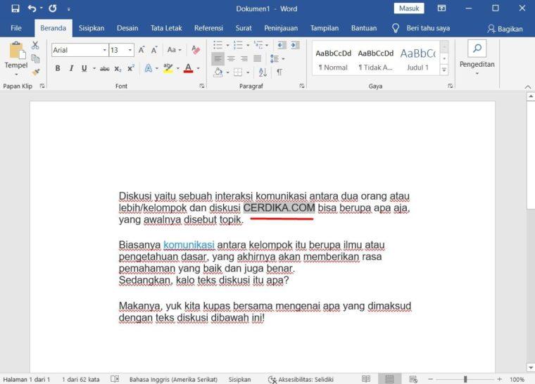 Cara ke-2 Menyisipkan Teks pada Microsoft Word