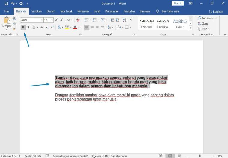 Cara ke-2 Membuat Teks Menjadi Tebal