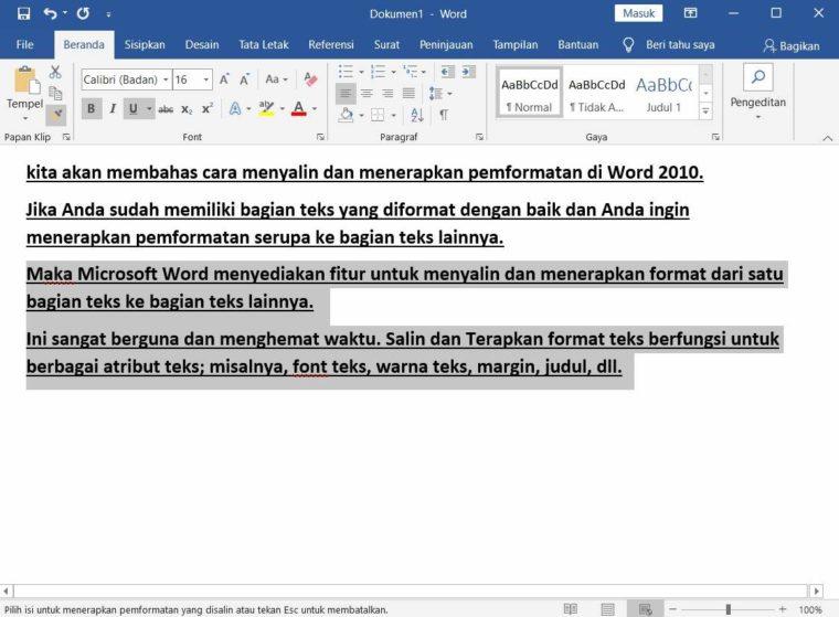 Cara ke-3 Copy and Apply Text Formatting