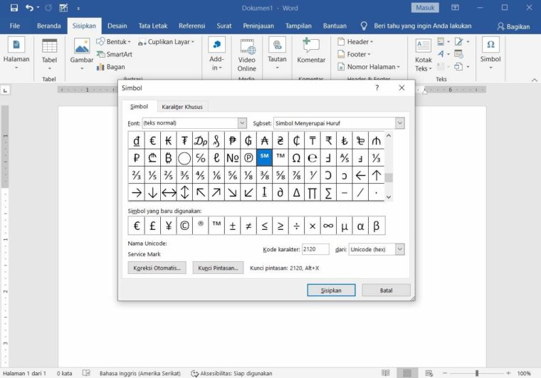 Cara ke-3 Memasukkan Symbol di Word