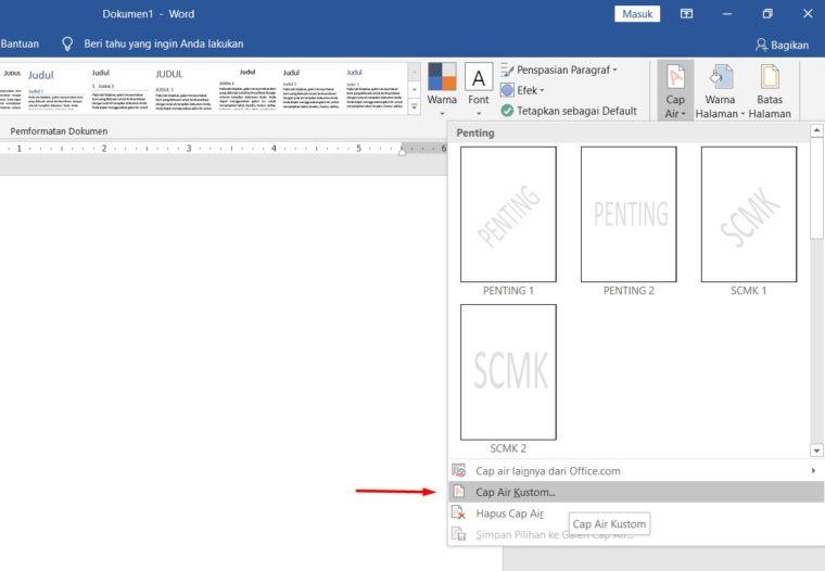Cara ke-3 Membuat Background Watermark di Word