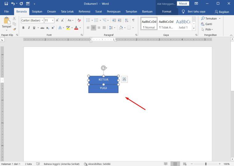 Cara ke-3 Membuat Bagan dengan Text Box dan Line