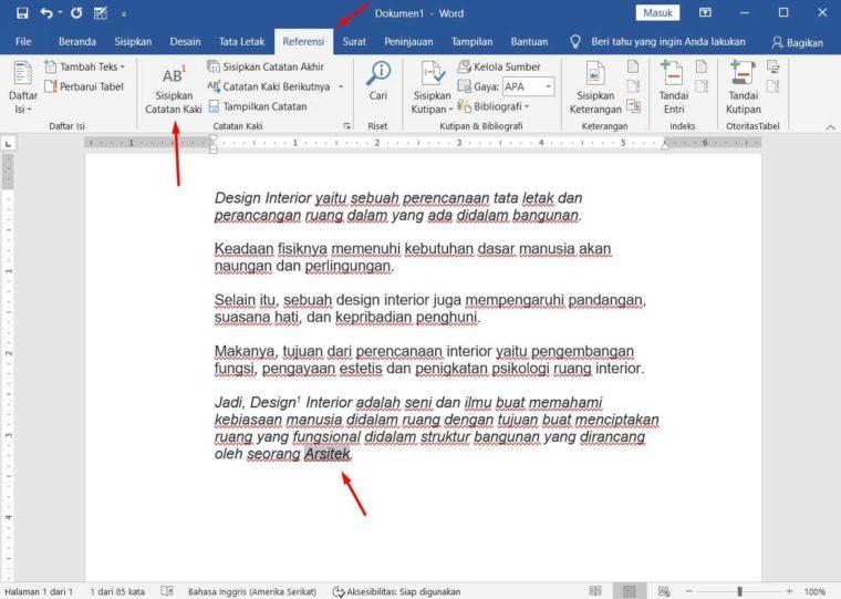 Cara ke-3 Membuat Footnote di Word