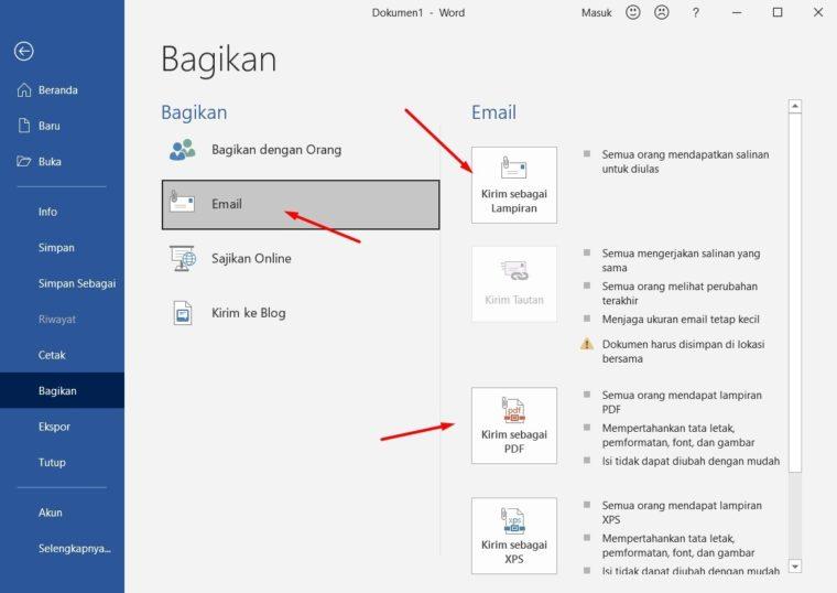 Cara ke-3 Mengirim Dokumen dalam Email di Word