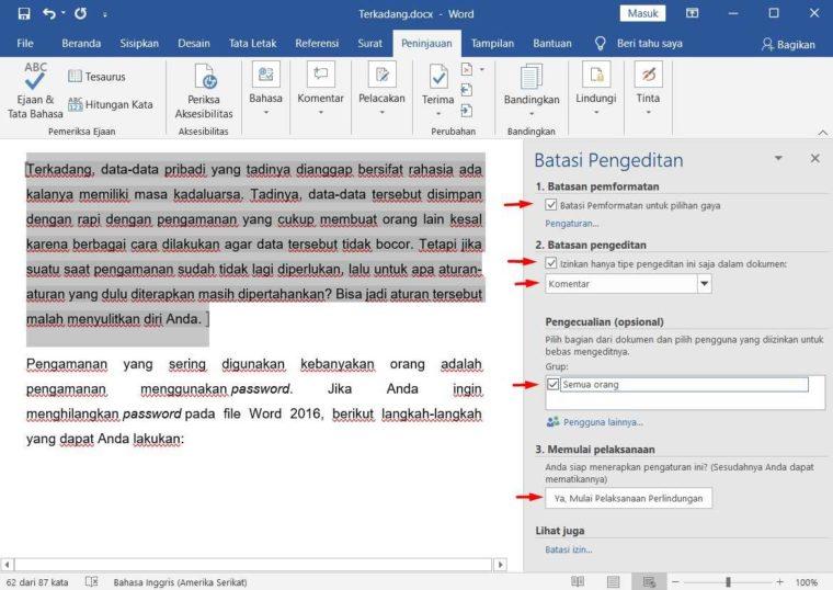 Cara ke-3 Mengunci Dokumen Agar Tidak Bisa Dicopy pada Tulisan Tertentu